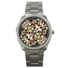 Background Fabric Animal Motifs And Flowers Sport Metal Watch