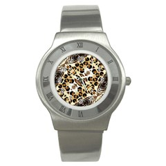 Background Fabric Animal Motifs And Flowers Stainless Steel Watch