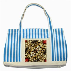 Background Fabric Animal Motifs And Flowers Striped Blue Tote Bag
