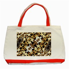 Background Fabric Animal Motifs And Flowers Classic Tote Bag (red)