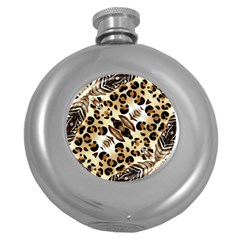 Background Fabric Animal Motifs And Flowers Round Hip Flask (5 Oz)