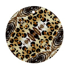 Background Fabric Animal Motifs And Flowers Round Ornament (two Sides)