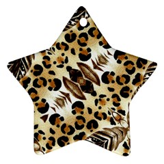 Background Fabric Animal Motifs And Flowers Star Ornament (Two Sides)