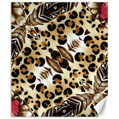 Background Fabric Animal Motifs And Flowers Canvas 8  X 10