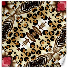 Background Fabric Animal Motifs And Flowers Canvas 12  X 12