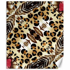 Background Fabric Animal Motifs And Flowers Canvas 20  X 24