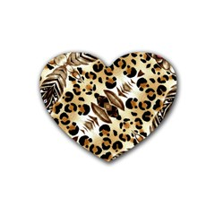 Background Fabric Animal Motifs And Flowers Rubber Coaster (heart)