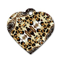 Background Fabric Animal Motifs And Flowers Dog Tag Heart (two Sides)