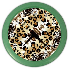 Background Fabric Animal Motifs And Flowers Color Wall Clocks