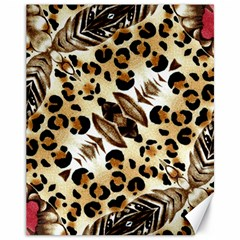 Background Fabric Animal Motifs And Flowers Canvas 11  X 14