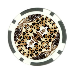 Background Fabric Animal Motifs And Flowers Poker Chip Card Guard