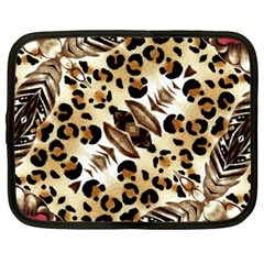 Background Fabric Animal Motifs And Flowers Netbook Case (large)