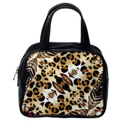 Background Fabric Animal Motifs And Flowers Classic Handbags (one Side)