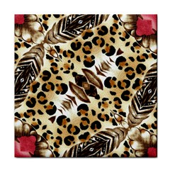 Background Fabric Animal Motifs And Flowers Face Towel