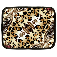 Background Fabric Animal Motifs And Flowers Netbook Case (xl)
