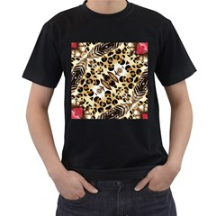 Background Fabric Animal Motifs And Flowers Men s T Shirt (black)