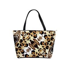 Background Fabric Animal Motifs And Flowers Shoulder Handbags