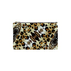 Background Fabric Animal Motifs And Flowers Cosmetic Bag (small)