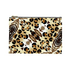 Background Fabric Animal Motifs And Flowers Cosmetic Bag (large)
