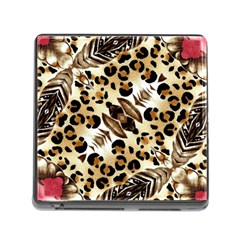 Background Fabric Animal Motifs And Flowers Memory Card Reader (square)