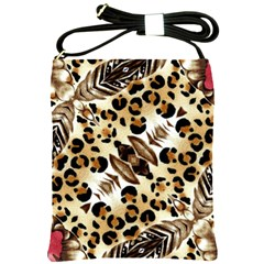 Background Fabric Animal Motifs And Flowers Shoulder Sling Bags