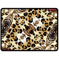 Background Fabric Animal Motifs And Flowers Fleece Blanket (large)