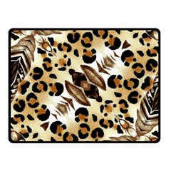 Background Fabric Animal Motifs And Flowers Fleece Blanket (small)