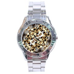 Background Fabric Animal Motifs And Flowers Stainless Steel Analogue Watch