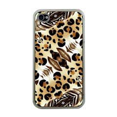 Background Fabric Animal Motifs And Flowers Apple Iphone 4 Case (clear)