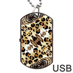 Background Fabric Animal Motifs And Flowers Dog Tag USB Flash (One Side)