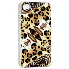 Background Fabric Animal Motifs And Flowers Apple iPhone 4/4s Seamless Case (White)