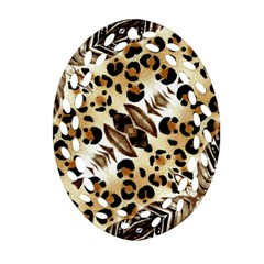 Background Fabric Animal Motifs And Flowers Oval Filigree Ornament (two Sides)