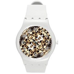 Background Fabric Animal Motifs And Flowers Round Plastic Sport Watch (m)