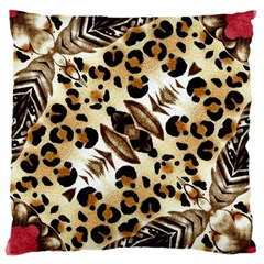Background Fabric Animal Motifs And Flowers Large Cushion Case (One Side)