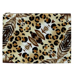 Background Fabric Animal Motifs And Flowers Cosmetic Bag (XXL)
