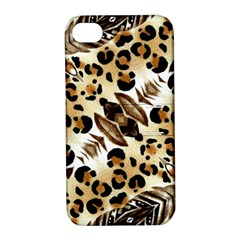 Background Fabric Animal Motifs And Flowers Apple Iphone 4/4s Hardshell Case With Stand