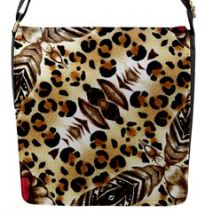 Background Fabric Animal Motifs And Flowers Flap Messenger Bag (s)