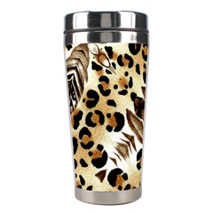 Background Fabric Animal Motifs And Flowers Stainless Steel Travel Tumblers