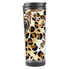 Background Fabric Animal Motifs And Flowers Travel Tumbler