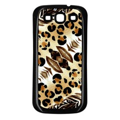 Background Fabric Animal Motifs And Flowers Samsung Galaxy S3 Back Case (black)