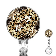 Background Fabric Animal Motifs And Flowers Stainless Steel Nurses Watch