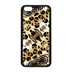 Background Fabric Animal Motifs And Flowers Apple Iphone 5c Seamless Case (black)