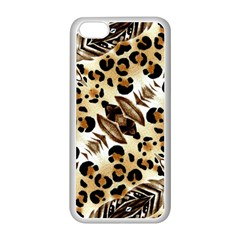 Background Fabric Animal Motifs And Flowers Apple Iphone 5c Seamless Case (white)