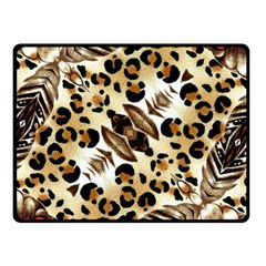Background Fabric Animal Motifs And Flowers Double Sided Fleece Blanket (small)