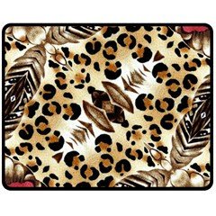 Background Fabric Animal Motifs And Flowers Double Sided Fleece Blanket (Medium)