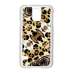 Background Fabric Animal Motifs And Flowers Samsung Galaxy S5 Case (white)