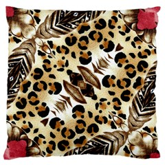 Background Fabric Animal Motifs And Flowers Large Flano Cushion Case (one Side)
