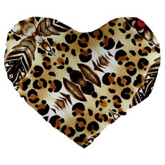 Background Fabric Animal Motifs And Flowers Large 19  Premium Flano Heart Shape Cushions