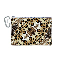 Background Fabric Animal Motifs And Flowers Canvas Cosmetic Bag (m)