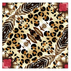 Background Fabric Animal Motifs And Flowers Large Satin Scarf (Square)
